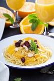 Dessert pasta with orange Royalty Free Stock Photos