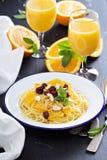 Dessert pasta with orange Royalty Free Stock Images
