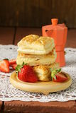 Dessert patties puff pastry with strawberries Royalty Free Stock Photo