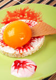 Dessert with peach, cracker and cream Royalty Free Stock Photography