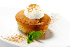 Dessert - Pear Charlotte with Ice Cream Royalty Free Stock Photography