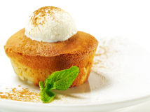 Dessert - Pear Charlotte With Ice Cream Royalty Free Stock Photo