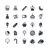 Dessert, pie, cupcake, cookie, biscuit, muffin vector icons. Sweet cupcake and biscuit, set of cake in monochrome style illustration Stock Photography