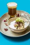 Dessert with pistachio ice cream ,milky foam and coffee Stock Photos