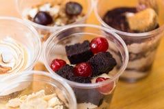 Dessert in plastic cup Stock Photo