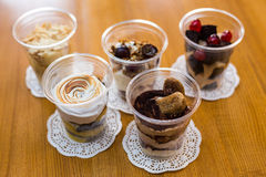 Dessert in plastic cup stock images
