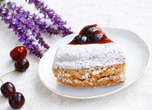 Dessert plate with cherry tart Royalty Free Stock Images