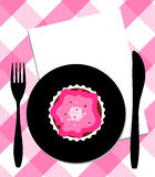 Dessert on plate, knife and fork royalty free illustration