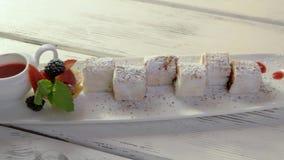 Dessert on plate. stock video footage