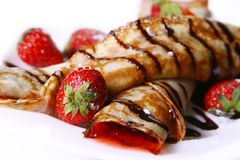 Dessert plate witn pancakes and strawberry Stock Photo