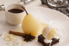 Dessert with poached pears Royalty Free Stock Image