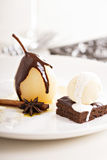 Dessert with poached pears Royalty Free Stock Images