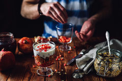 Dessert with Pomegranate. royalty free stock photography