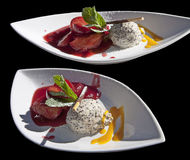 Dessert: poppy-seed mousse and fruits in rum Royalty Free Stock Photos