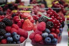 Dessert portion of ripe berries: raspberries, strawberries, blueberries. Dessert portion of ripe berries: raspberries, strawberries blueberries Royalty Free Stock Photo