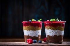 Dessert posé fait maison avec des fruits frais et des graines de chia image stock