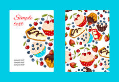 Dessert promo card cartoon style. Stock Images