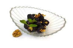 Dessert of prunes and nuts Stock Image