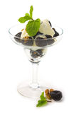 Dessert of prunes and nuts with cream Royalty Free Stock Photography