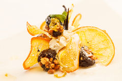 Dessert with prunes Stock Photo