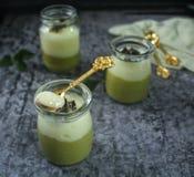 Dessert, pudding, avocado. Avocado vanilla cream pudding, dessert Royalty Free Stock Image