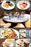 Dessert réglé dans les restaurants photo stock