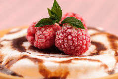 Dessert with rasberry and mint Royalty Free Stock Photo