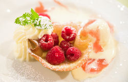 Dessert with raspberries Stock Image