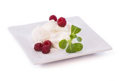 Dessert with raspberries Royalty Free Stock Photos