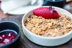 Dessert with raspberry sorbet. Close up of dessert with raspberry sorbet served in a restaurant stock photos