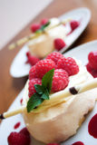 Dessert is ready!. Raspberry pavlova desserts Stock Image