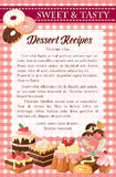 Dessert recipe poster template with cake, donut Royalty Free Stock Photo