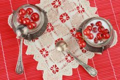 Dessert with red currant. Dessert for a two. Red currant with sour cream on the red background Royalty Free Stock Photography