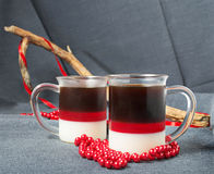 Dessert with red, milk and coffee jelly Royalty Free Stock Photography