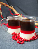 Dessert with red, milk and coffee jelly Stock Photography