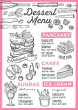 Dessert menu restaurant, food template. Dessert restaurant menu. Vector food flyer for bar and cafe. Design template with vintage hand-drawn illustrations Stock Photography