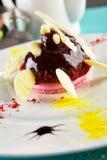 Exquisite dessert menu in the restaurant Stock Photos