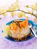 Dessert ricotta with orange. And vanilla royalty free stock photos