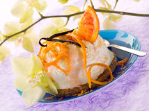 Dessert ricotta with orange Royalty Free Stock Images