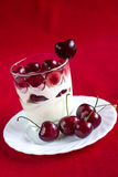 Dessert with ripe cherry Royalty Free Stock Photos