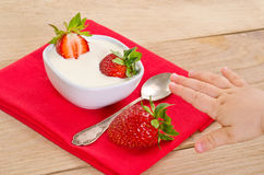 Dessert with ripe strawberry Stock Photos