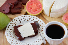 Dessert Romeo and Juliet of goiabada, Minas cheese, coffee Stock Photo