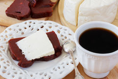 Dessert Romeo and Juliet, goiabada, Minas cheese, coffee Stock Image