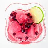Dessert Romig Curd Jelly, Granaatappelzaden royalty-vrije stock afbeeldingen