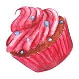 Dessert rose doux délicieux de petit gâteau d'aquarelle d'isolement illustration stock