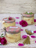 Dessert with rose petals. In a jar stock images