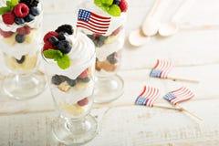 Dessert rouge, bleu et blanc pour le 4ème juillet Photo libre de droits