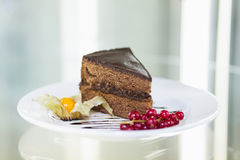 Dessert - Sacher cake. In a plate with berries stock images