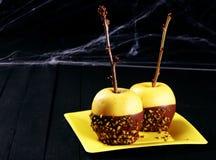 Dessert sain de pomme de Halloween Photographie stock libre de droits