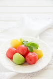 The dessert salad of watermelon Stock Images